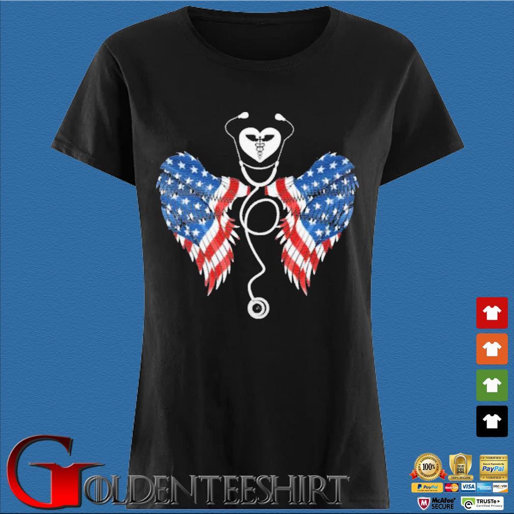 Patriotic Nurse Stethoscope Wings US Flag T-Shirt Den Ladies