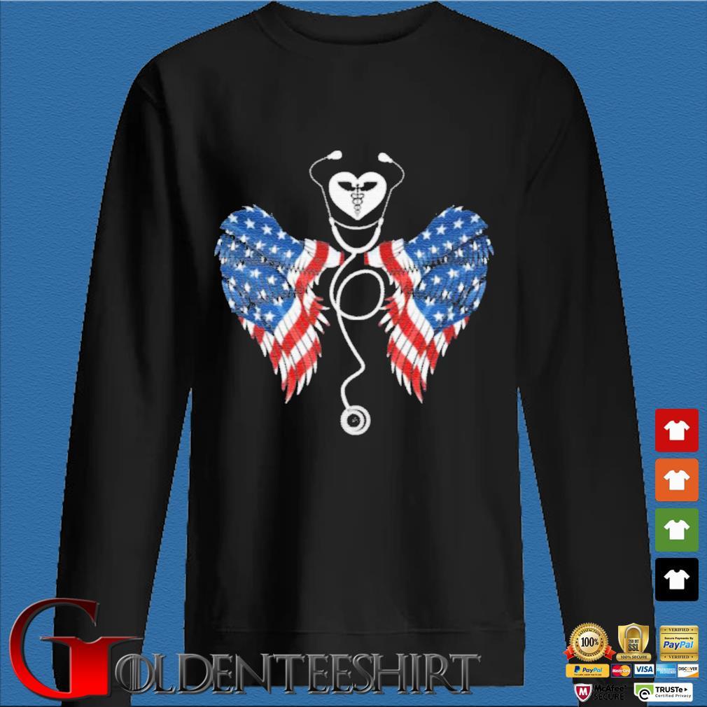 Patriotic Nurse Stethoscope Wings US Flag T-Shirt Den Sweater
