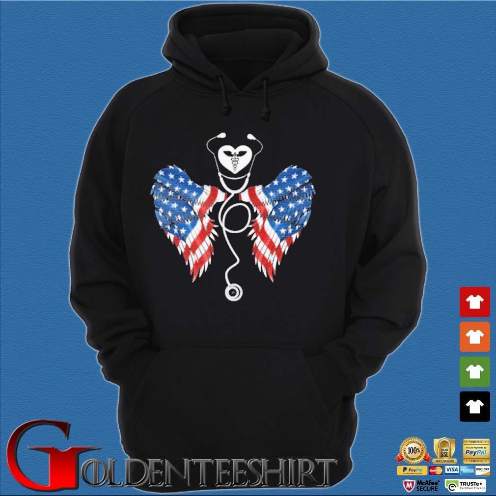 Patriotic Nurse Stethoscope Wings US Flag T-Shirt Hoodie đen