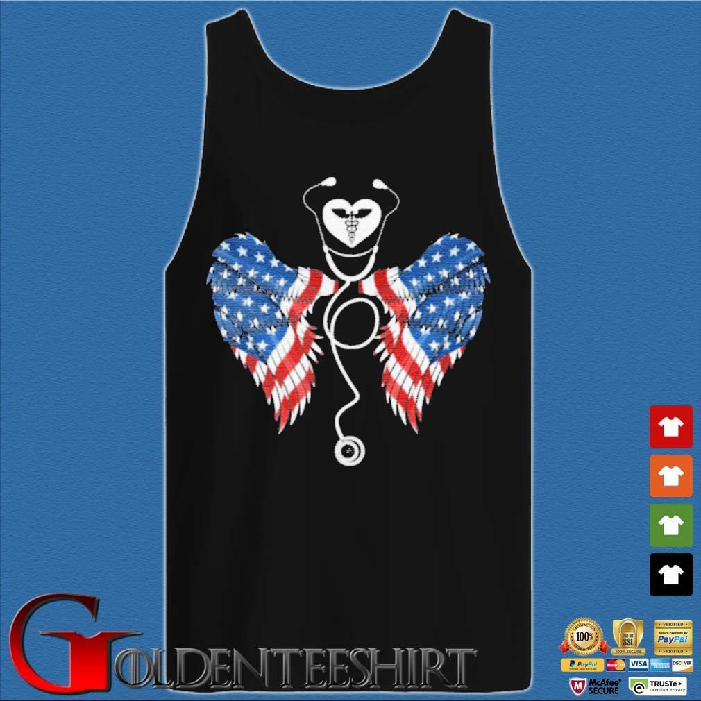 Patriotic Nurse Stethoscope Wings US Flag T-Shirt Tank top den