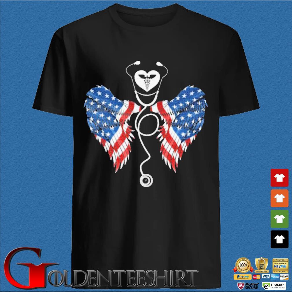Patriotic Nurse Stethoscope Wings US Flag T-Shirt