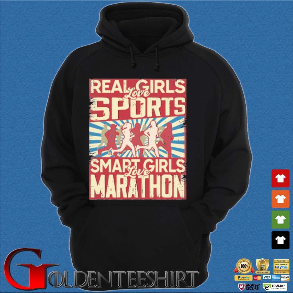 Real girls love sports smart girls love marathon 2020 s Hoodie đen