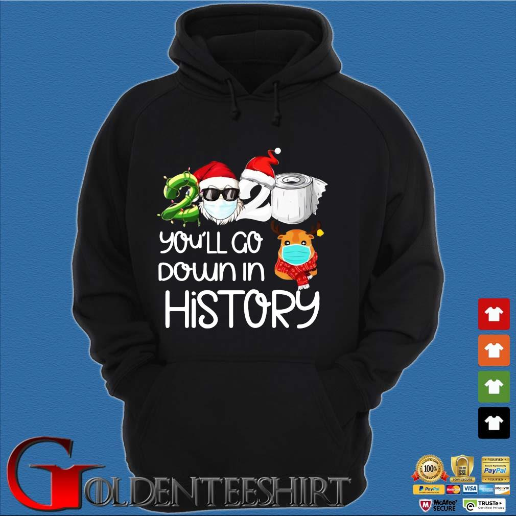 Santa 2020 face mask you'll go down in history Christmas sweater Hoodie đen