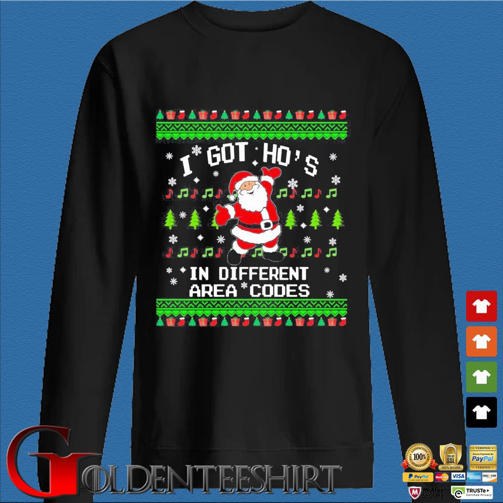 Santa I got ho's in different area codes Christmas sweats Den Sweater