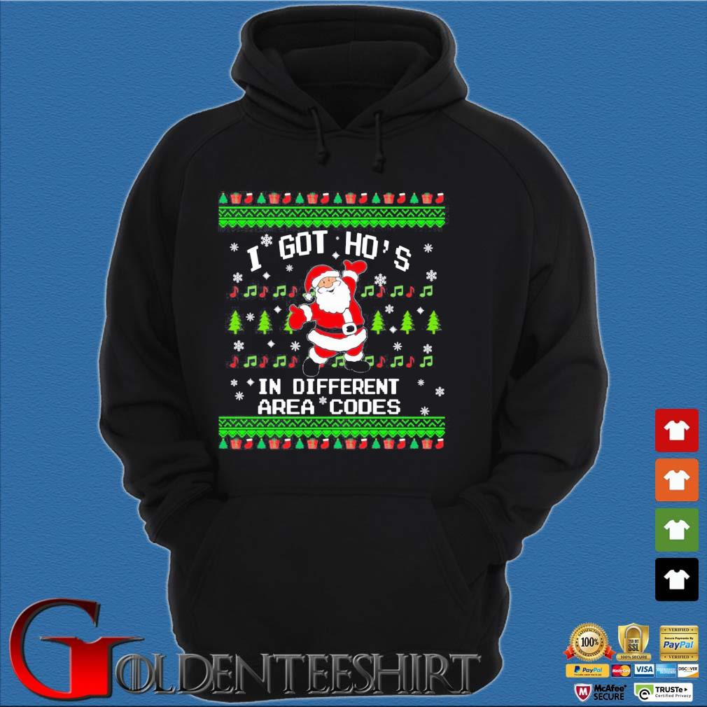 Santa I got ho's in different area codes Christmas sweats Hoodie đen