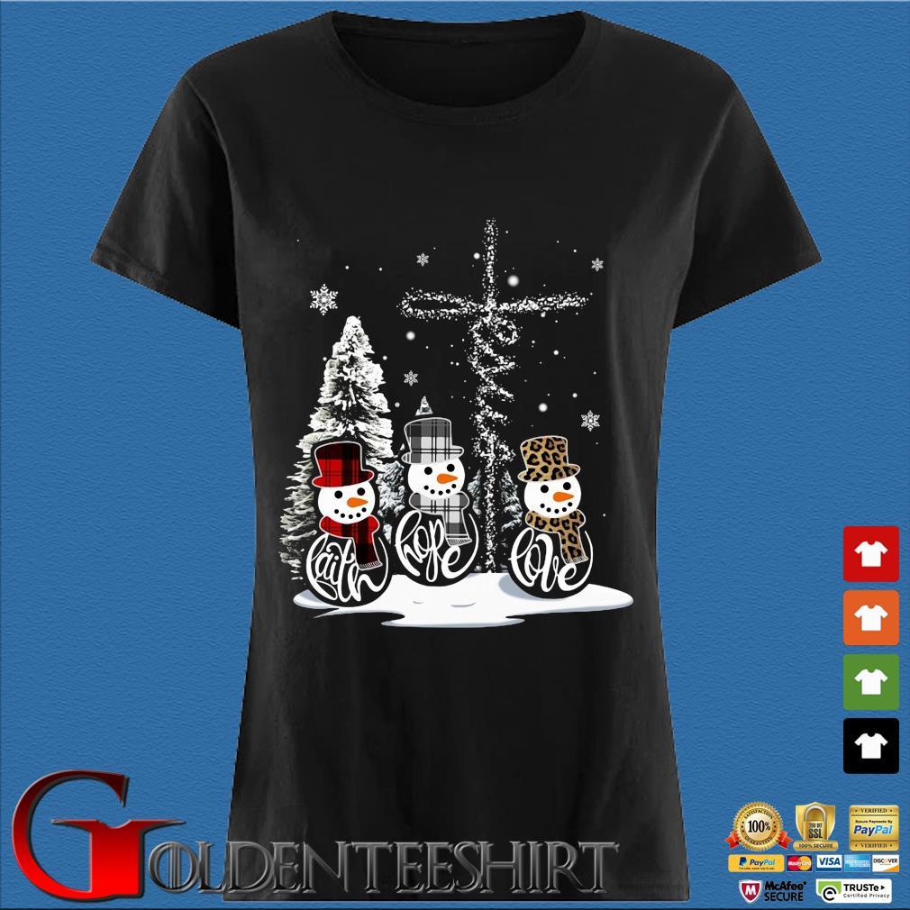 Snowman faith hope love Christmas sweats Den Ladies