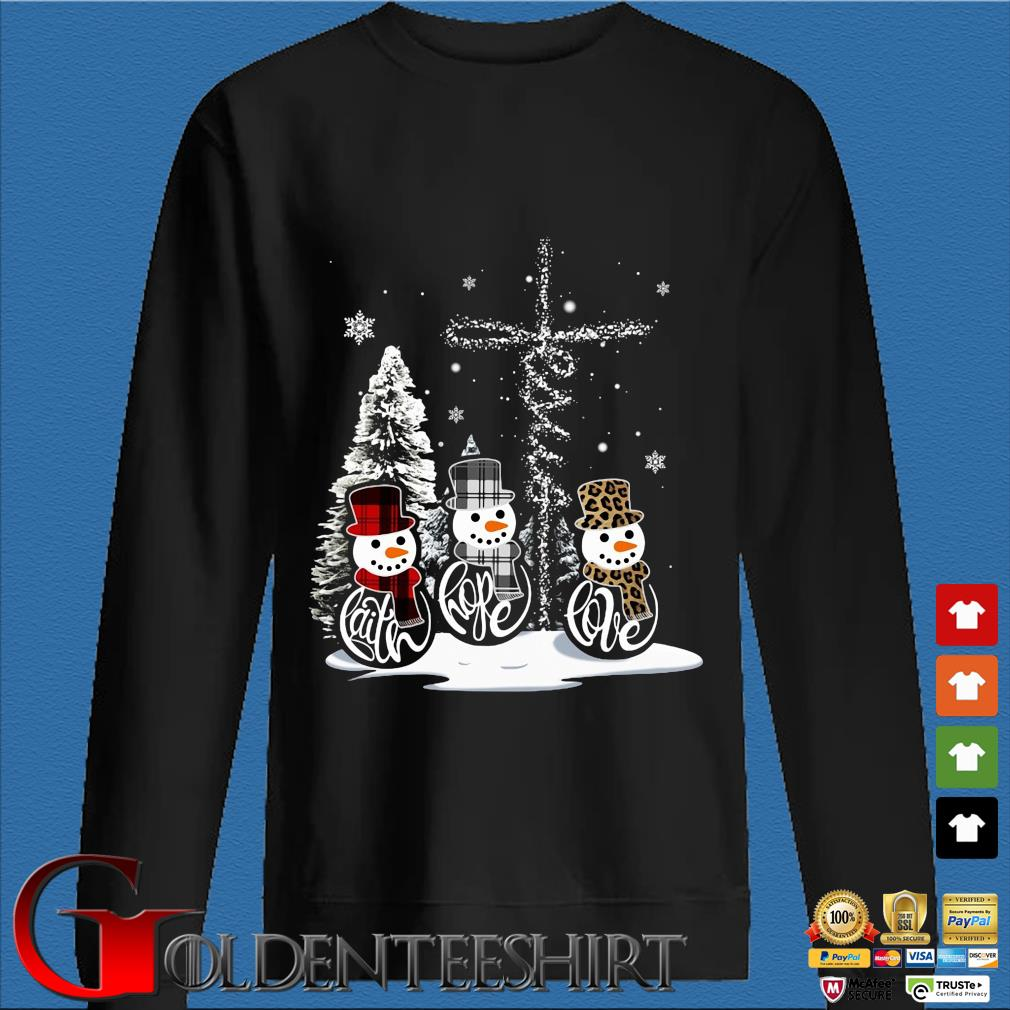Snowman faith hope love Christmas sweats Den Sweater