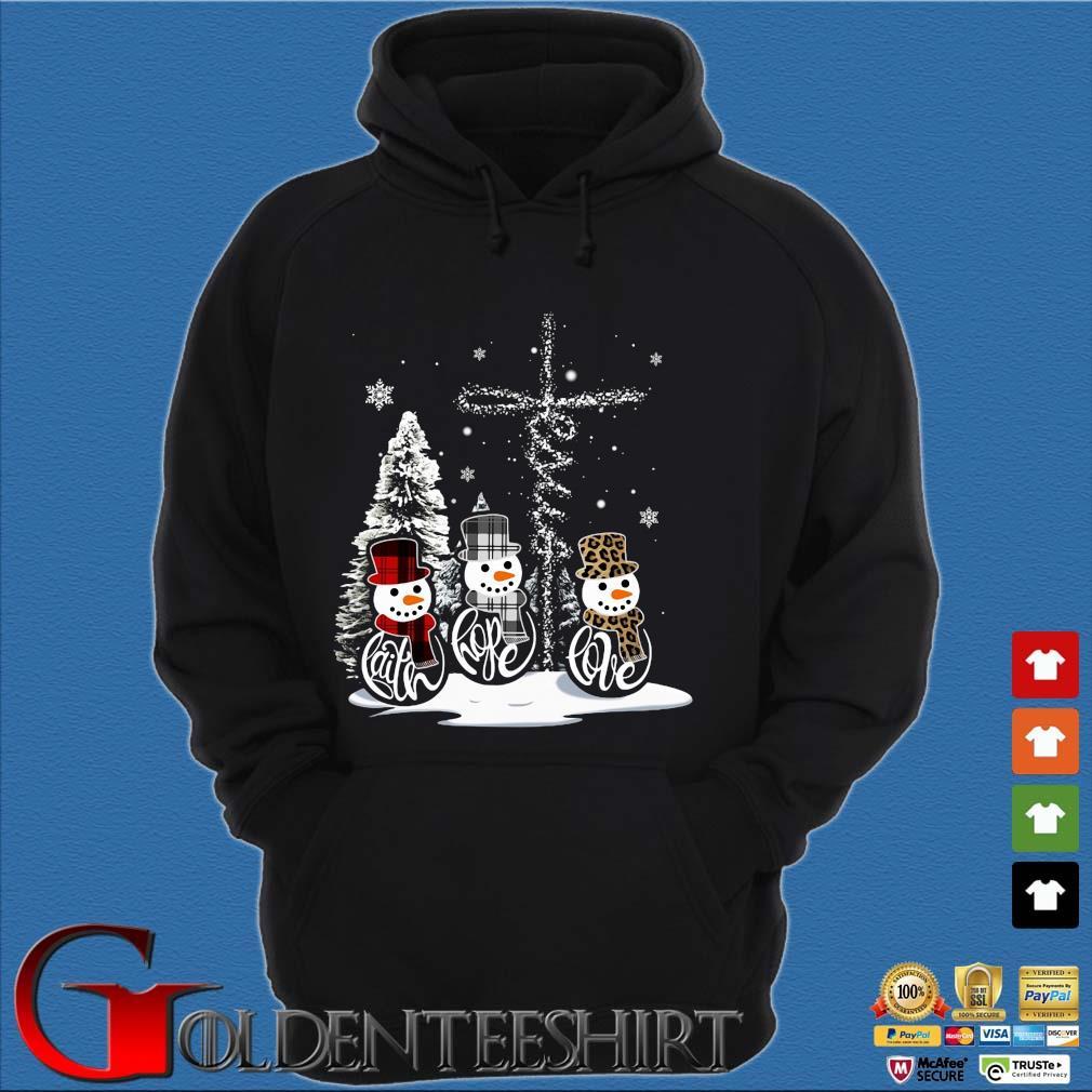 Snowman faith hope love Christmas sweats Hoodie đen