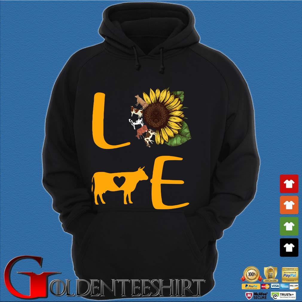 Sunflower Cow love s Hoodie đen