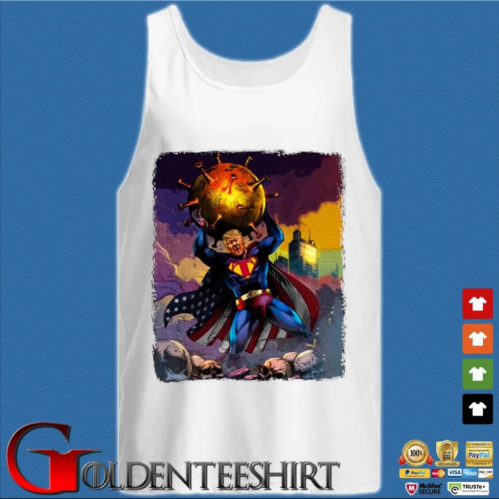 Support Trump Superman Fight Covid-19 Shirt Tank top trắng