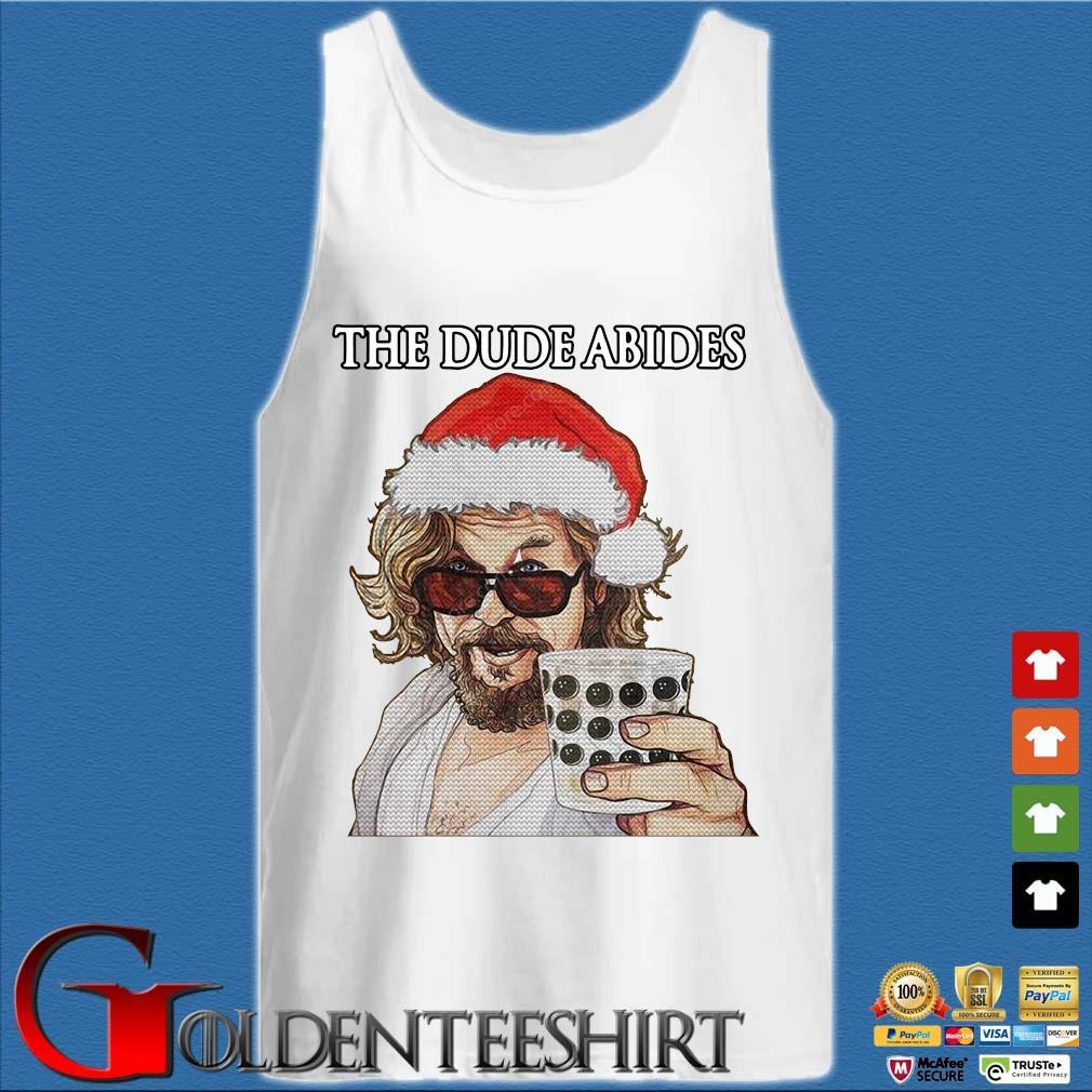 The Big Lebowski The Dude Abides Ugly Christmas Shirt Tank top trắng