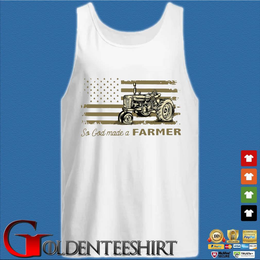 Tractor so god made a farmer American flag s Tank top trắng