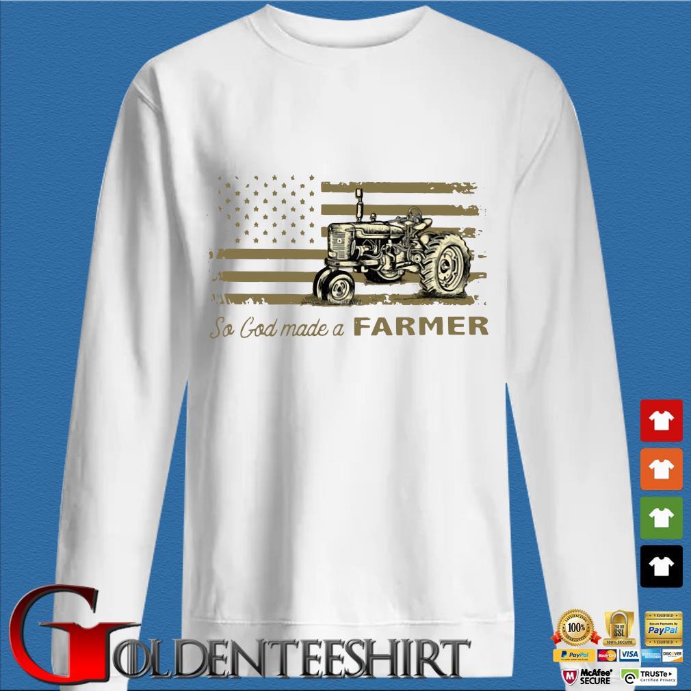 Tractor so god made a farmer American flag shirt
