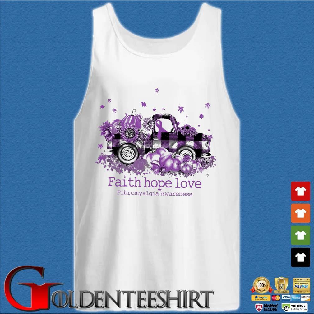 Truck Pumpkin faith hope love fibromyalgia breast cancer awareness purple s Tank top trắng