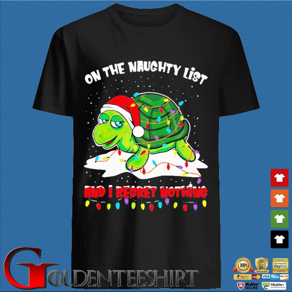 Turtle on the naughty list and I regret nothing light Christmas sweater