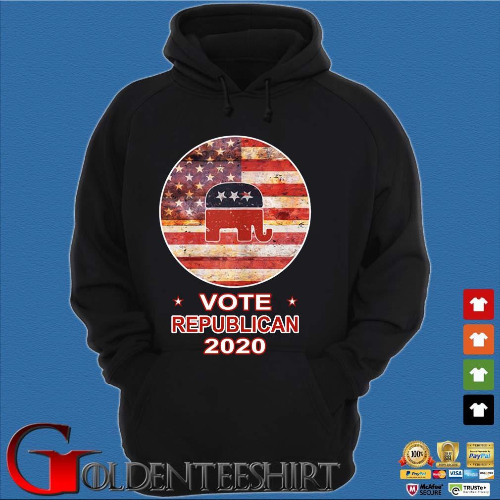 Vote Republican 2020 American FLag Shirt Hoodie đen