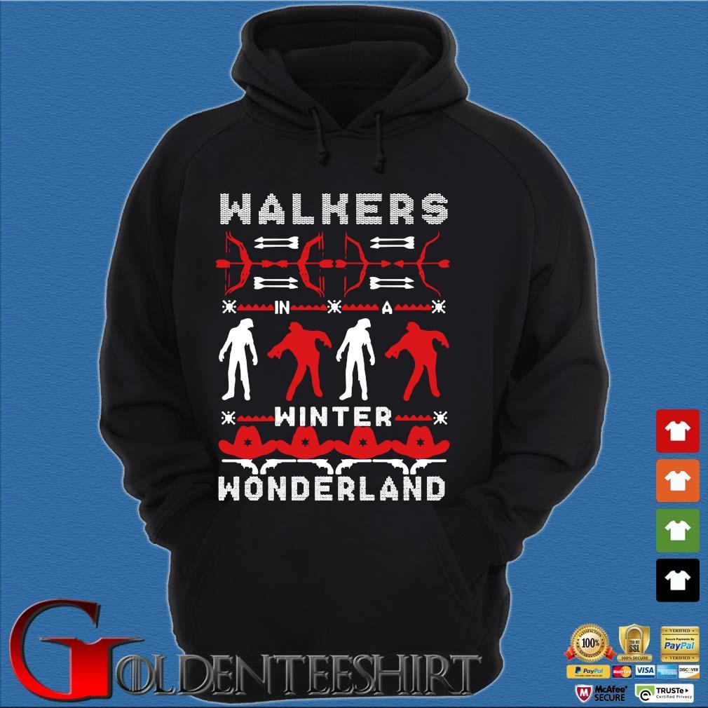 Walking Dead Walkers winter wonderland Ugly Christmas sweater Hoodie đen