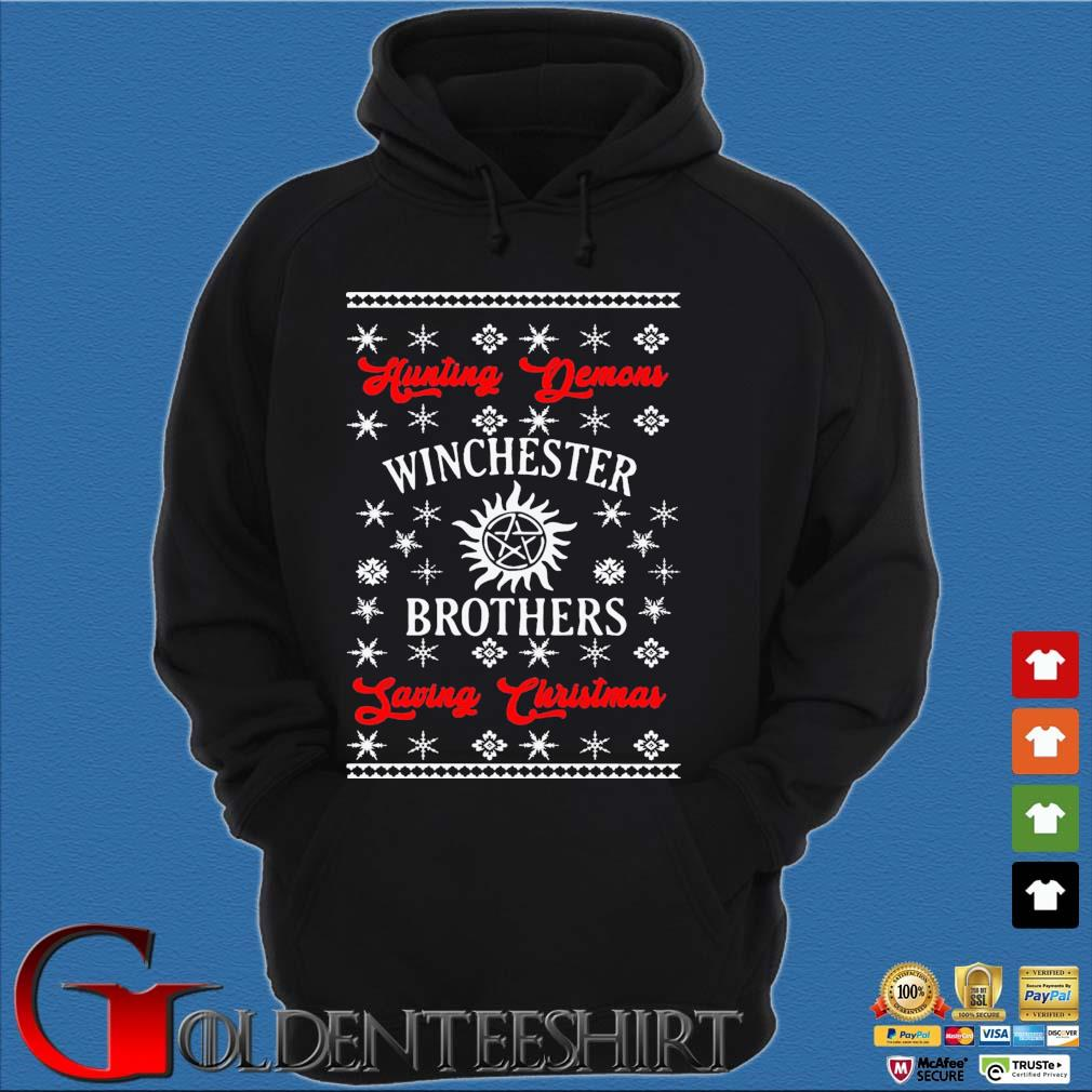 Winchester Brothers Ugly Christmas Sweats Hoodie đen
