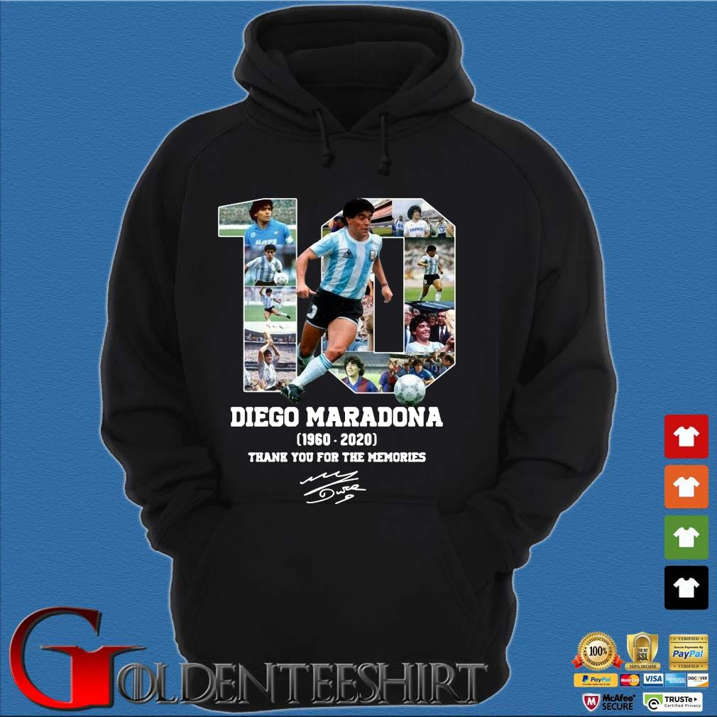 10 Diego Maradona 1960-2020 thank you for the memories signature s Hoodie đen