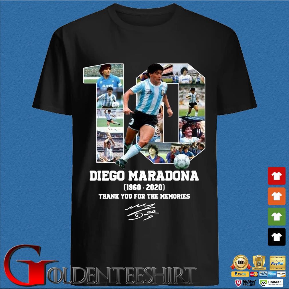 10 Diego Maradona 1960-2020 thank you for the memories signature s den Shirt