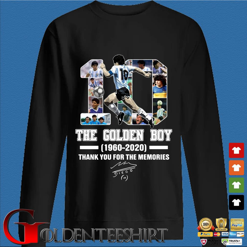 10 the golden boy Diego Maradona 1960 2020 thank you for the memories signature shirt