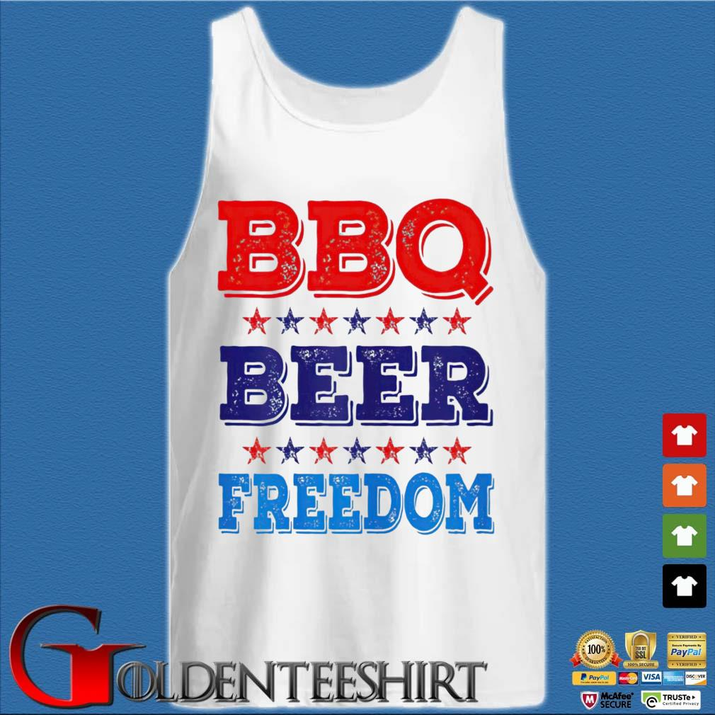 BBQ Beer Freedom USA Shirt Tank top trắng