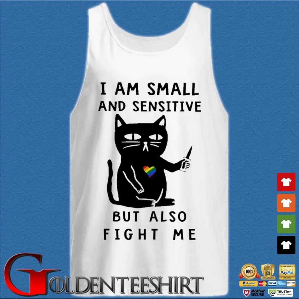 Black cat heart lgbt I am small and sensitive but also fight Me s Tank top trắng