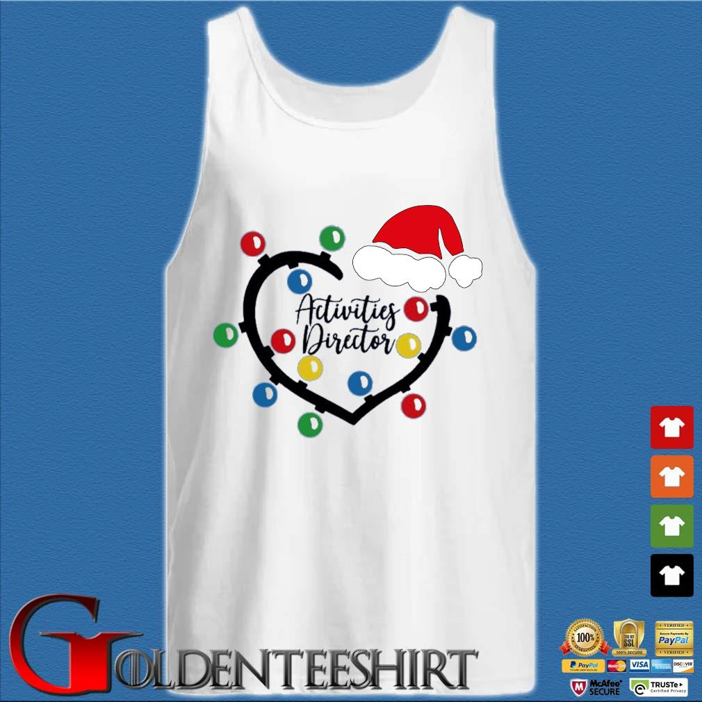 Heart Santa Activities Director light Christmas sweater Tank top trắng