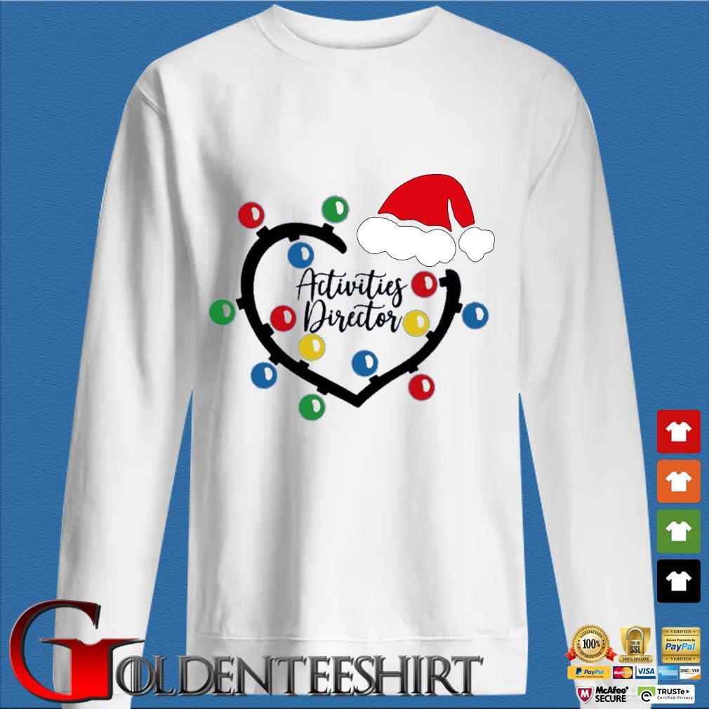 Heart Santa Activities Director light Christmas sweater