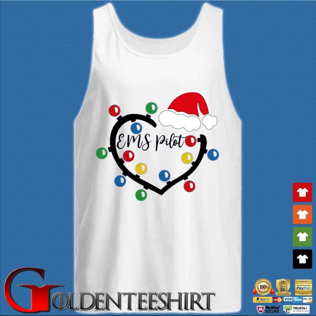 Heart Santa Ems Pilot light Christmas sweater Tank top trắng