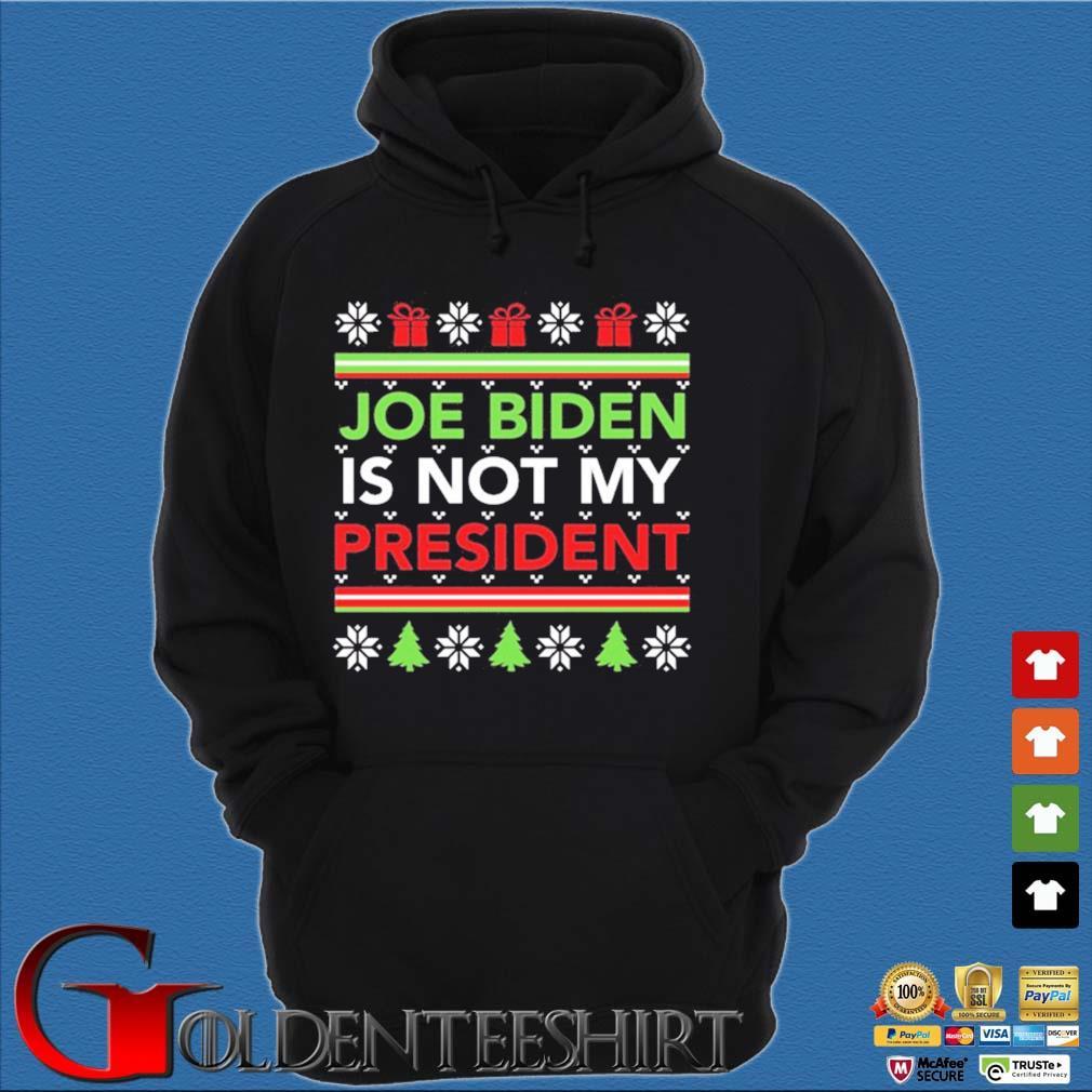 Joe Biden is not my president Ugly Christmas sweater Hoodie đen