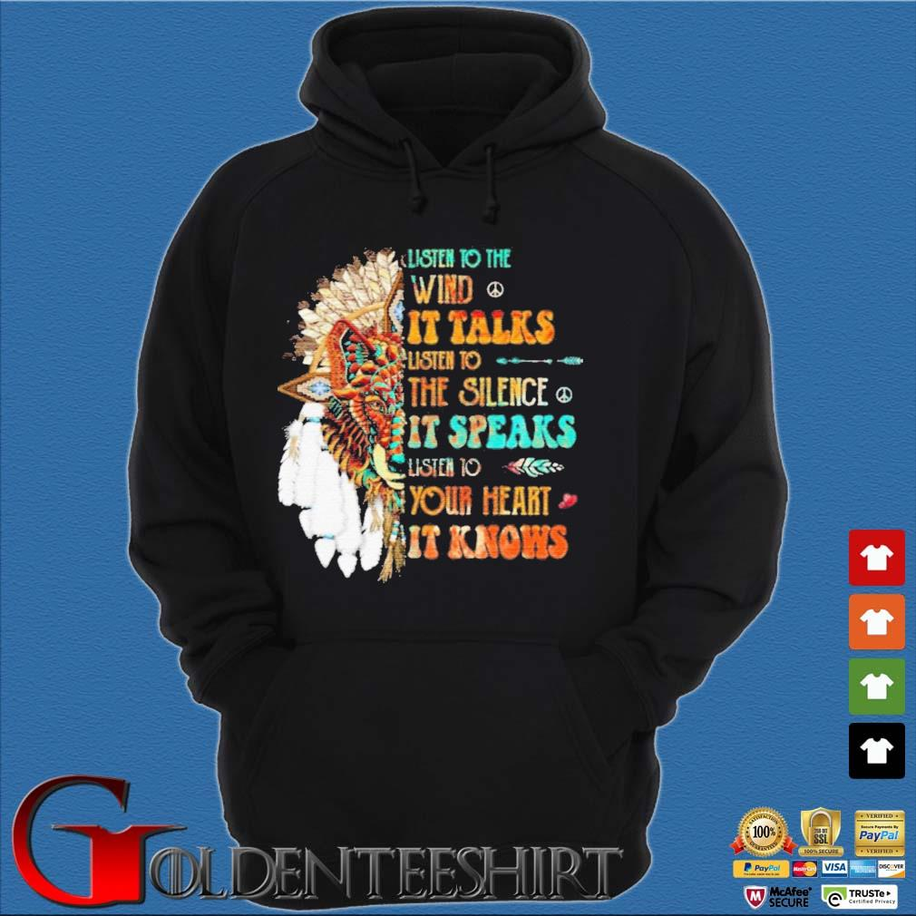 Listen To The Wind It Talks Listen To The Silence It Speaks Listen To Your Heart It Knows Shirt Hoodie đen