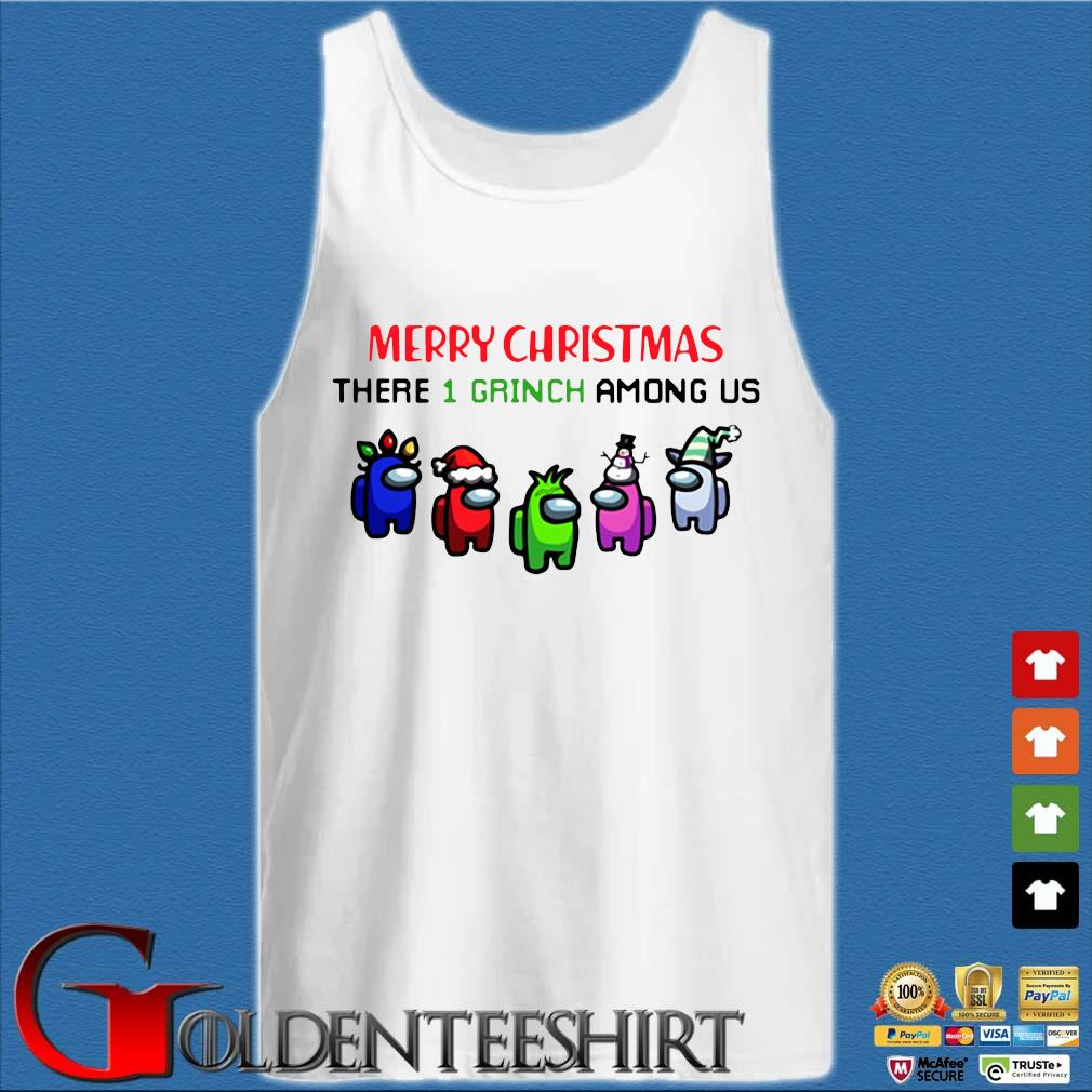 Merry Christmas There 1 Grinch Among Us Sweater Tank top trắng