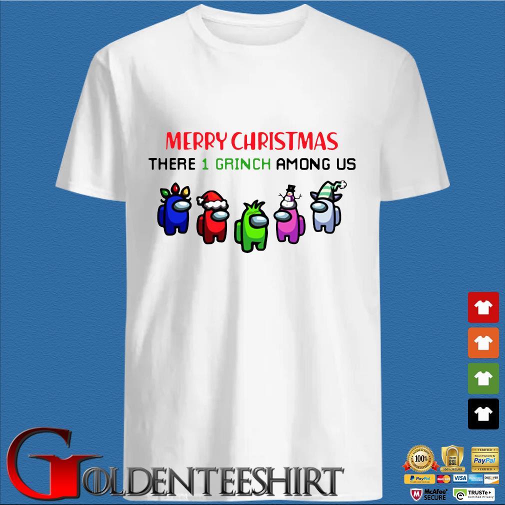 Merry Christmas There 1 Grinch Among Us Sweater trang Shirt