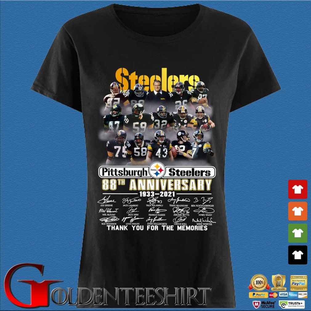 Pittsburgh Steelers 88th anniversary 1933-2021 thank you for the memories signatures s Den Ladies