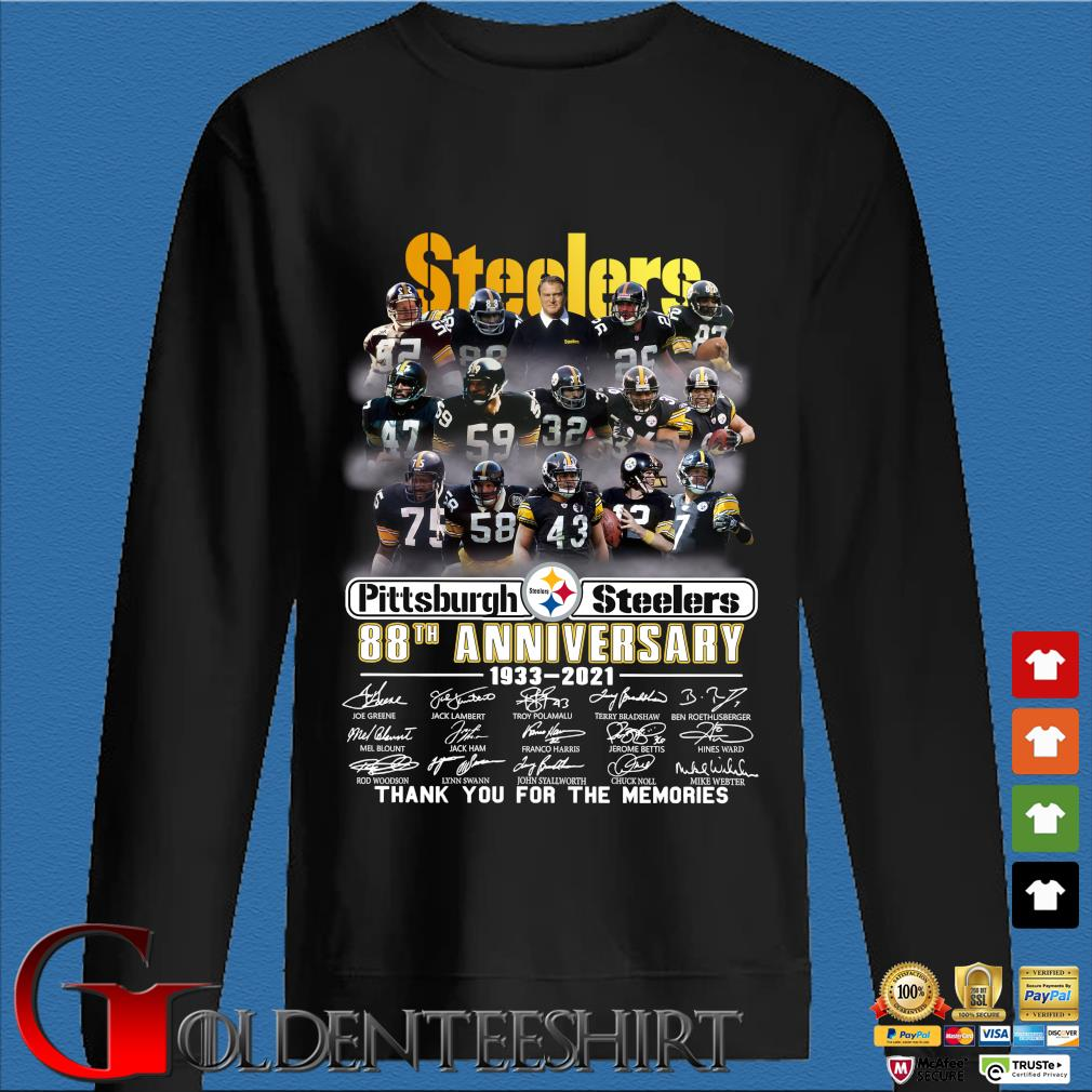 Pittsburgh Steelers 88th anniversary 1933-2021 thank you for the memories signatures shirt