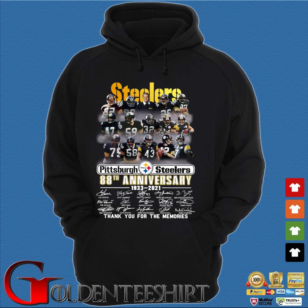 Pittsburgh Steelers 88th anniversary 1933-2021 thank you for the memories signatures s Hoodie đen