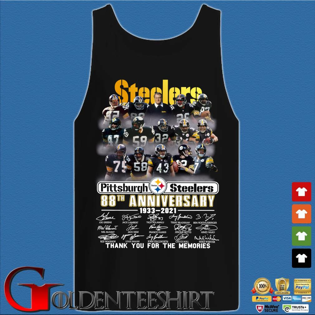 Pittsburgh Steelers 88th anniversary 1933-2021 thank you for the memories signatures s Tank top den