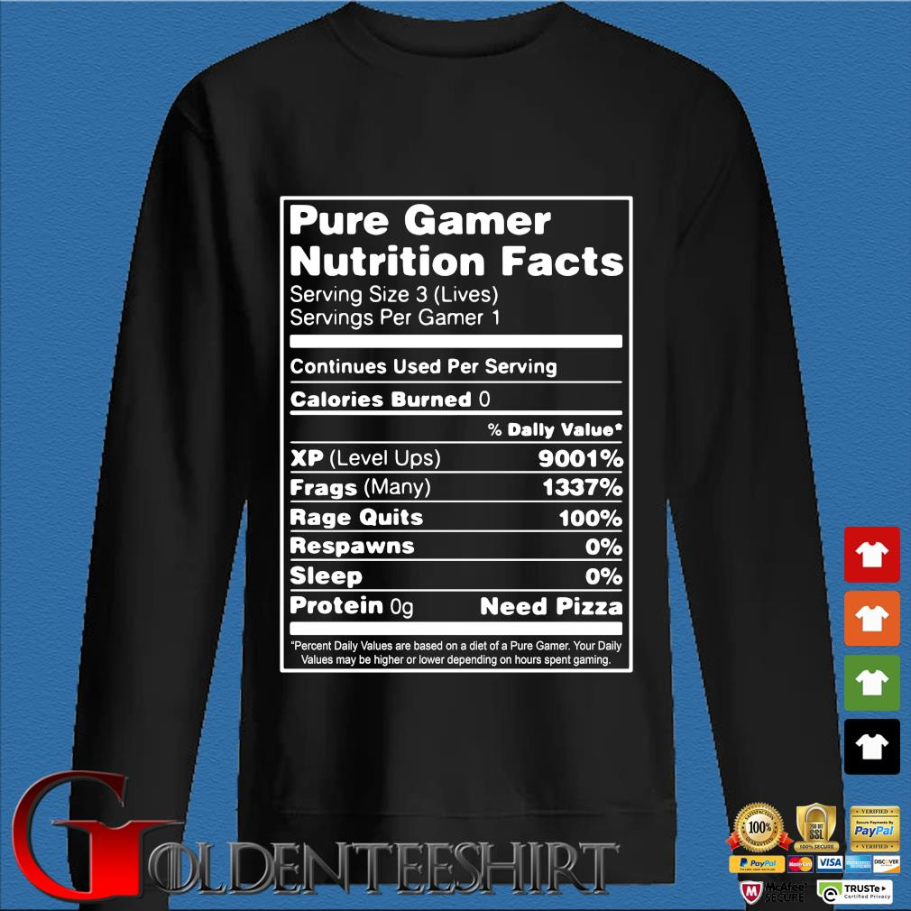 Pure gamer nutrition facts serving size 3 shirt