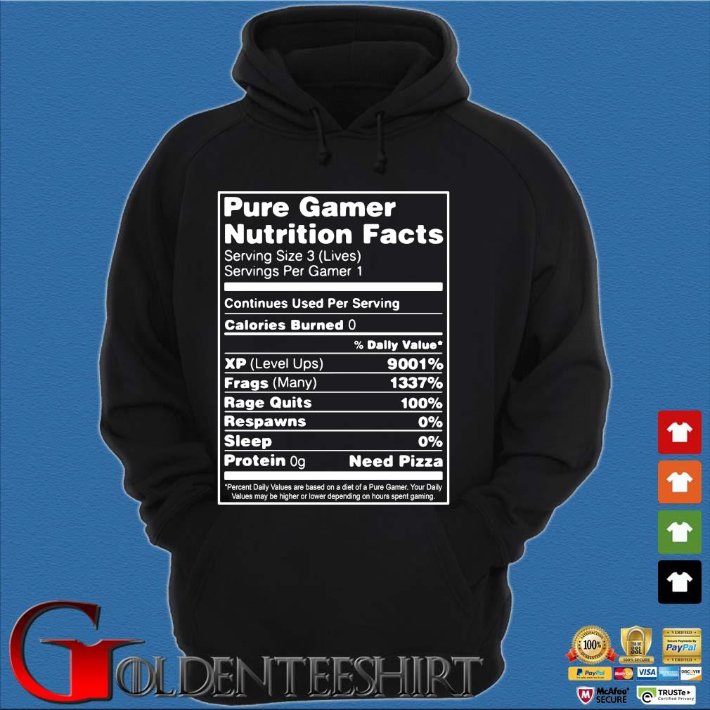 Pure gamer nutrition facts serving size 3 s Hoodie đen