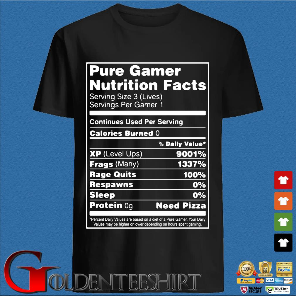 Pure gamer nutrition facts serving size 3 s den Shirt