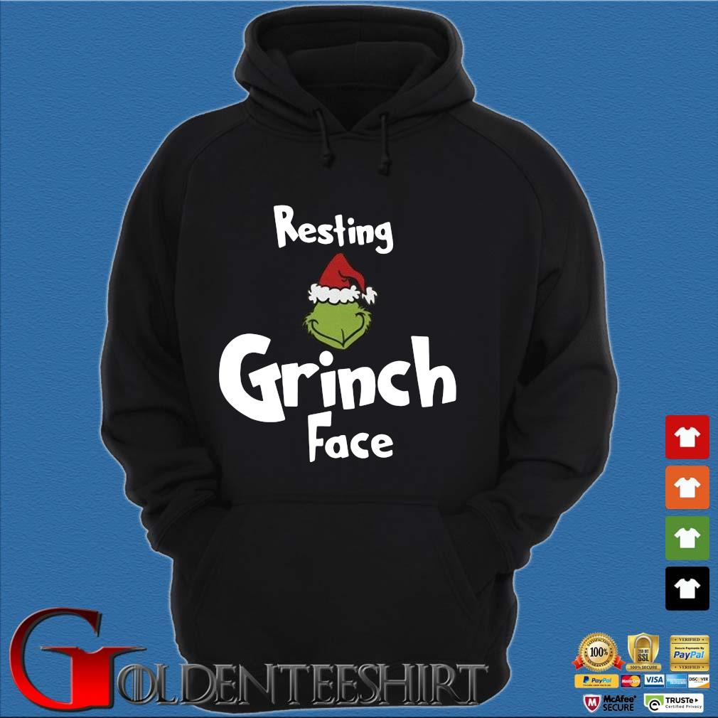 Resting Grinch face Christmas sweater Hoodie đen