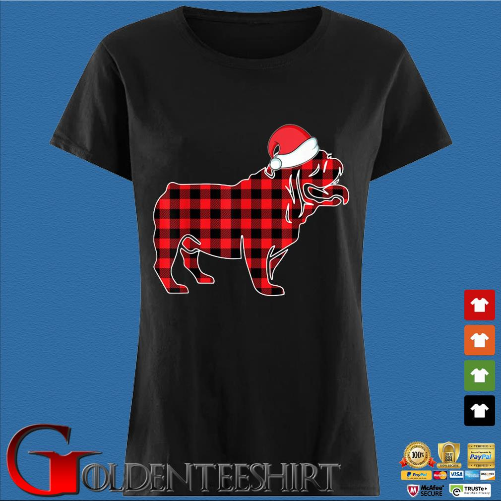 Santa Bulldog red plaid Christmas sweater Den Ladies