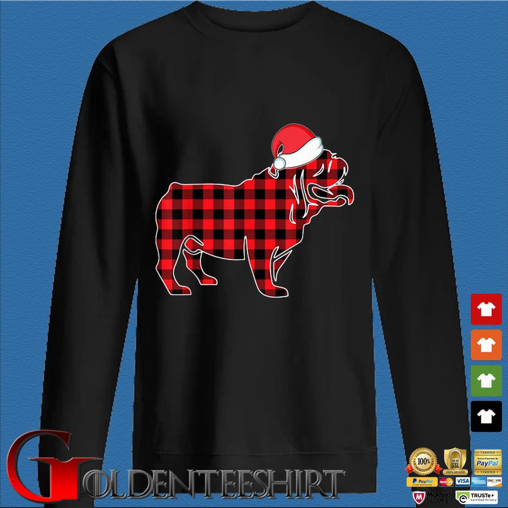 Santa Bulldog red plaid Christmas sweater