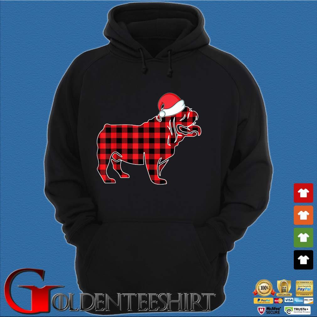 Santa Bulldog red plaid Christmas sweater Hoodie đen