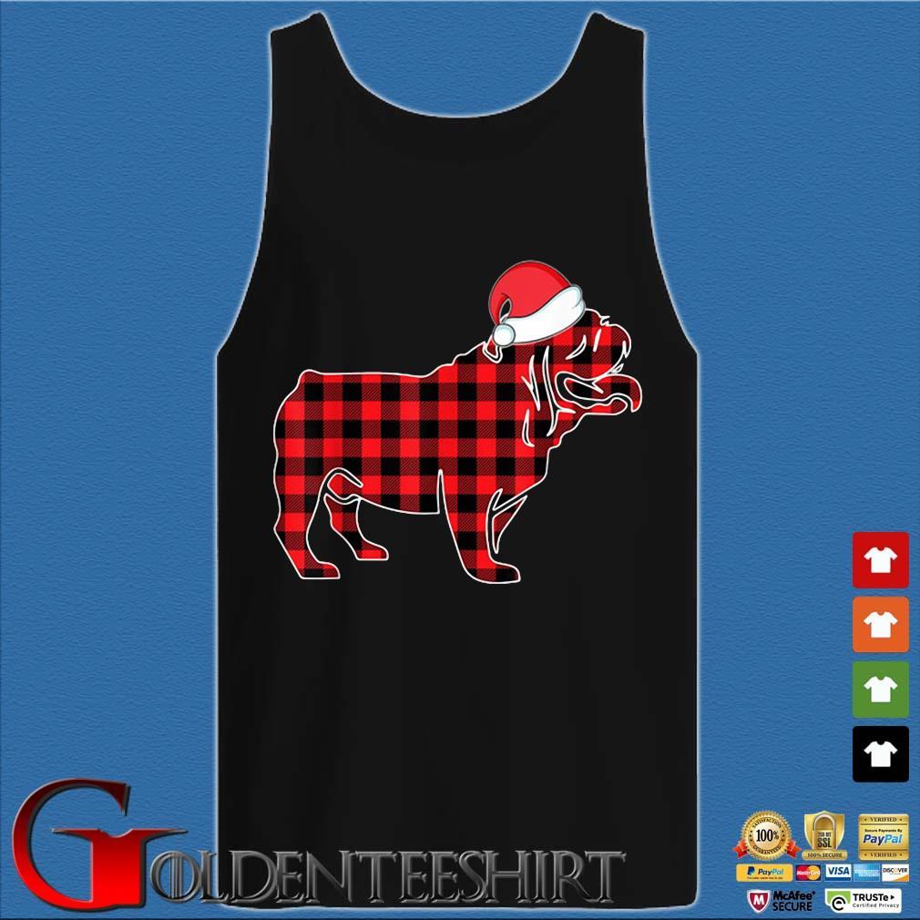 Santa Bulldog red plaid Christmas sweater Tank top den