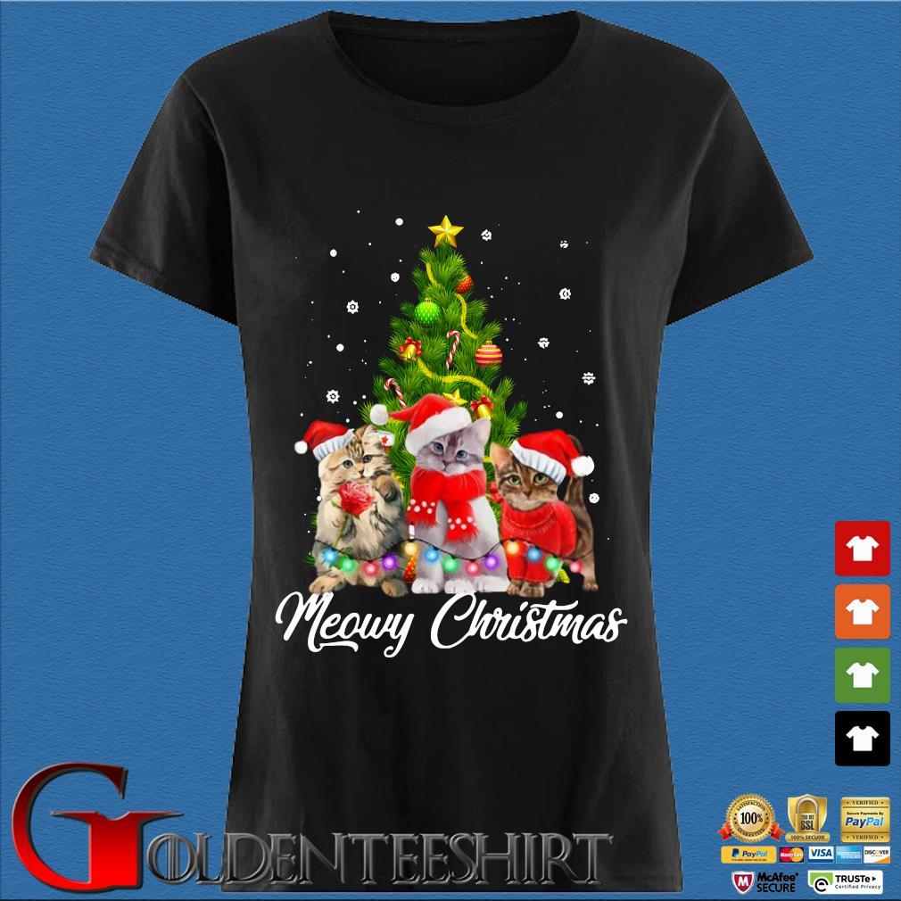 Santa cats Meowy Christmas tree sweater Den Ladies