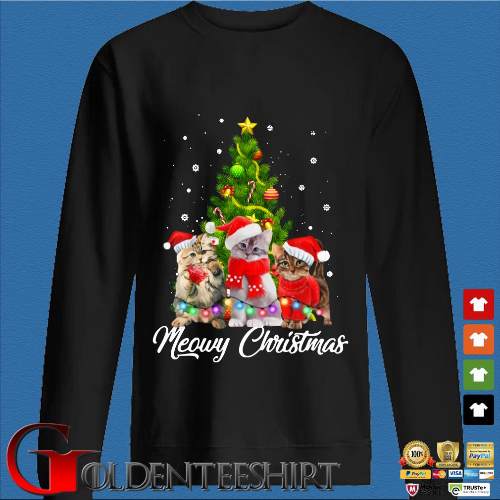 Santa cats Meowy Christmas tree sweater