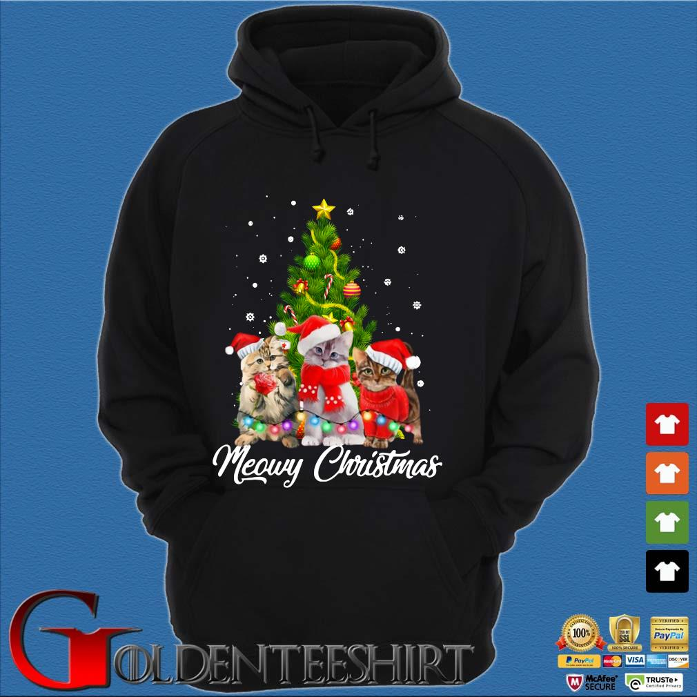 Santa cats Meowy Christmas tree sweater Hoodie đen