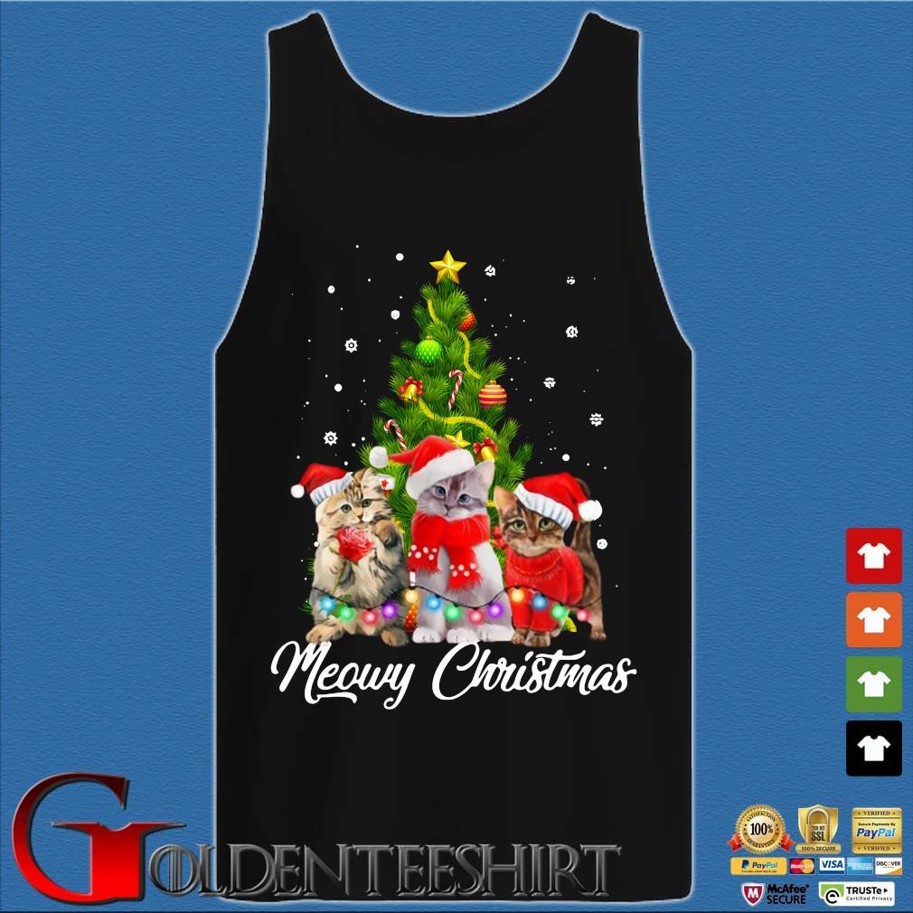 Santa cats Meowy Christmas tree sweater Tank top den